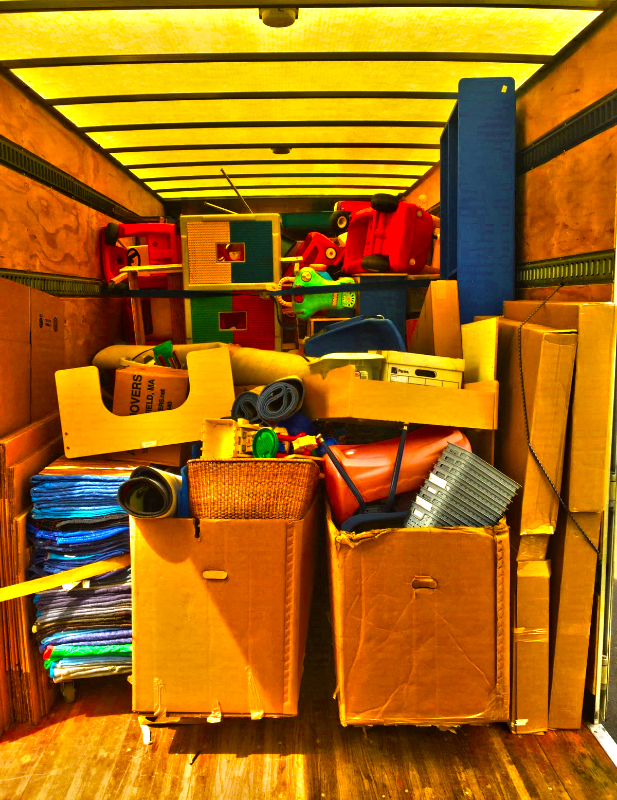 Boxes in Storage truck